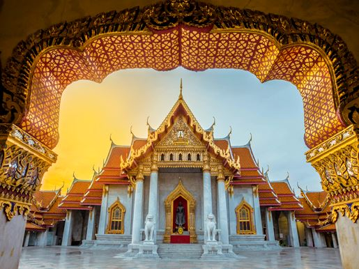 Canva Thailand Temple Of Marble, Wat Benchamabophit, Famous Temple In Bangkok, Thailand