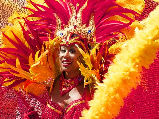 Canva Woman Dressed In Colorful Feathers At A Carnival