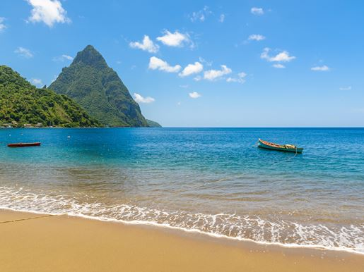 Canva Paradise Beach At Soufriere Bay With View To Piton At Small Town Soufriere In Saint Lucia, Tropical Caribbean Island.