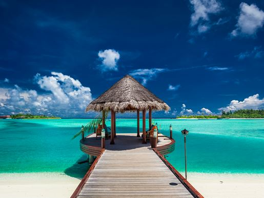 Canva Traditional Boat Jetty In Luxury Resort Of Maldives, Indian Ocea